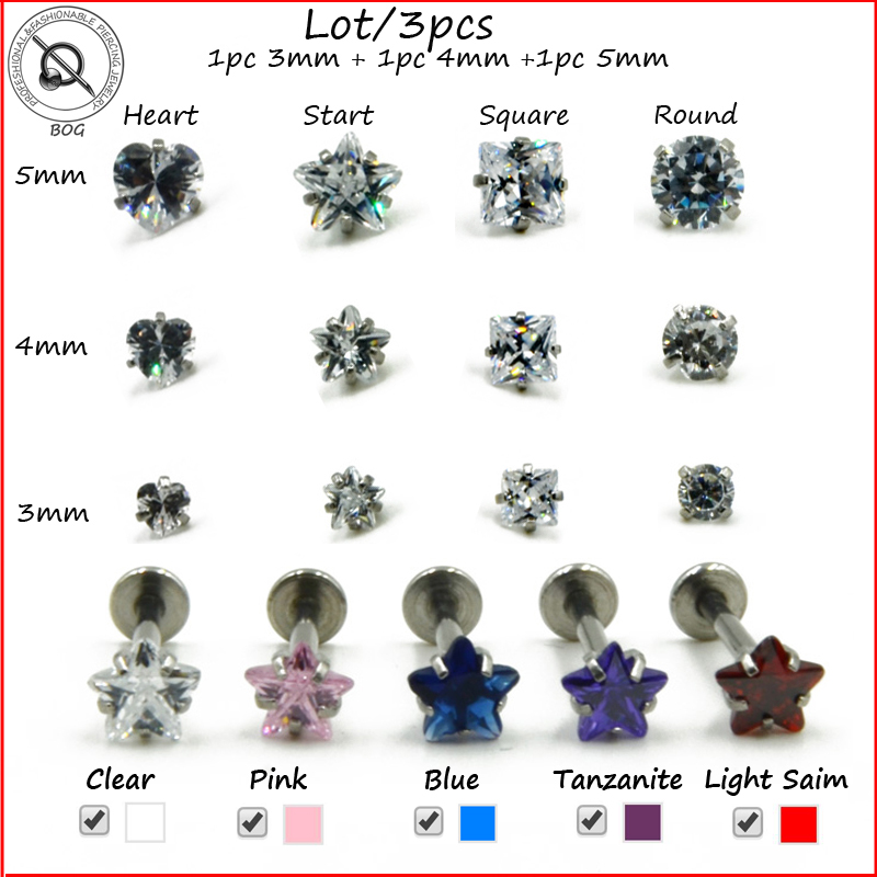 BOG-Lot 3Pcs Cubic Zirconia Gem Labret Monroe Lip Stud Ear Cartilage Tragus Helix Piercing stud Ring 16g Body Jewelry