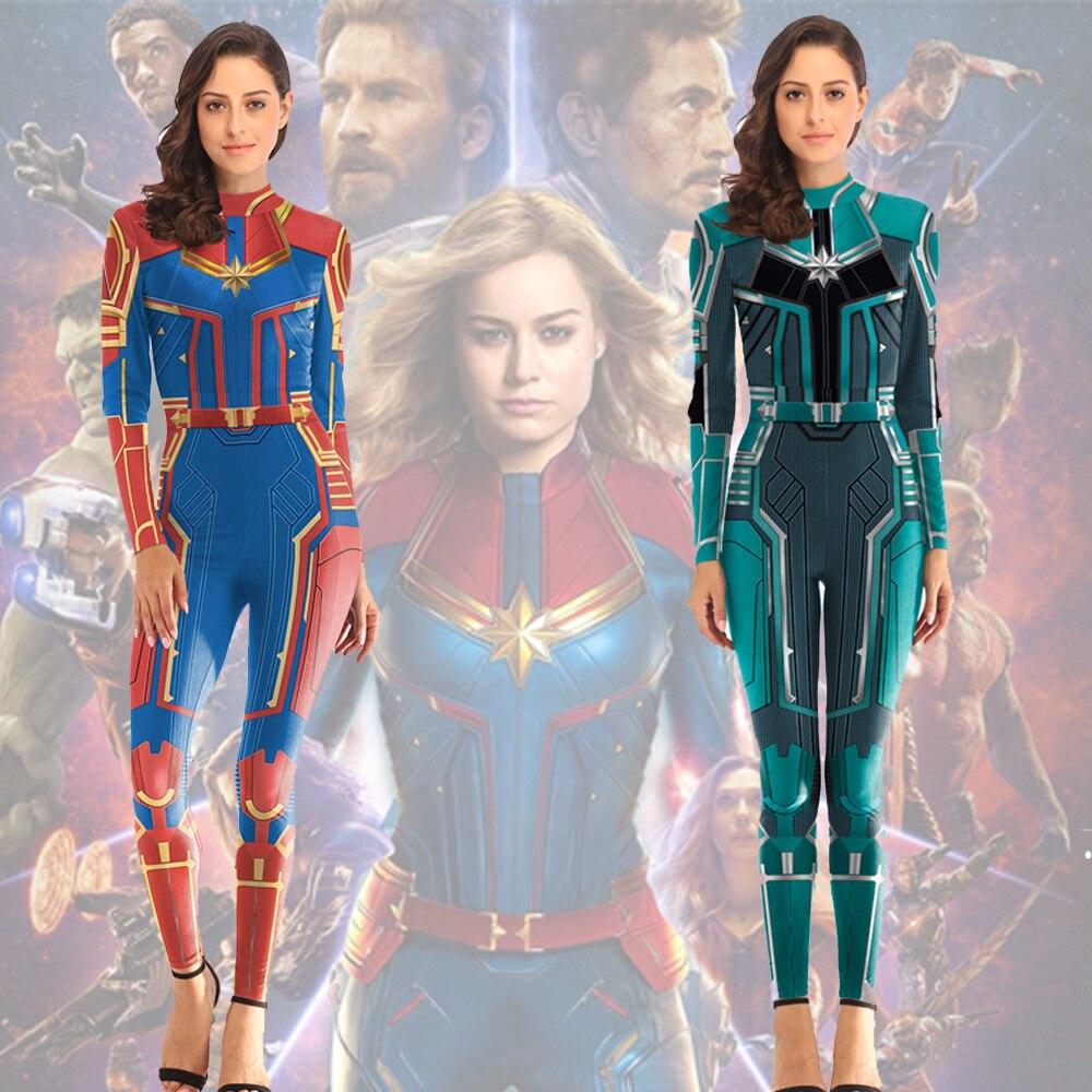 Captain Marvel Asuna Women Cosplay Costumes Carol Danvers 2019 Superhero Halloween Costumes Jumpsuit Bodysuit Halloween Costume