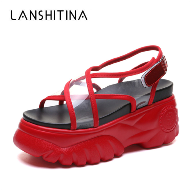 New Fashion Summer Women Sneakers Gladiator Sandals Wedge Platform Shoes Woman 8 5CM Wedge Heels Thick Bottom Beach Flip Flops in High Heels from Shoes