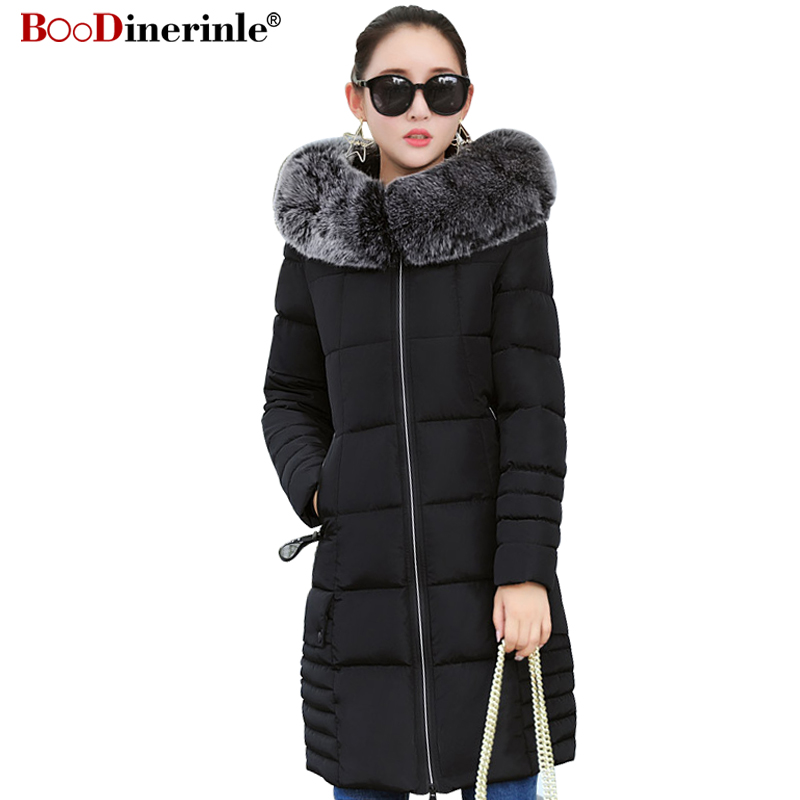Winter Cotton Clothing for Women Elegant Thick Slim Fur Collar Long Jacket   Parkas   Female Warm Letter Print Zipper Coat MY231