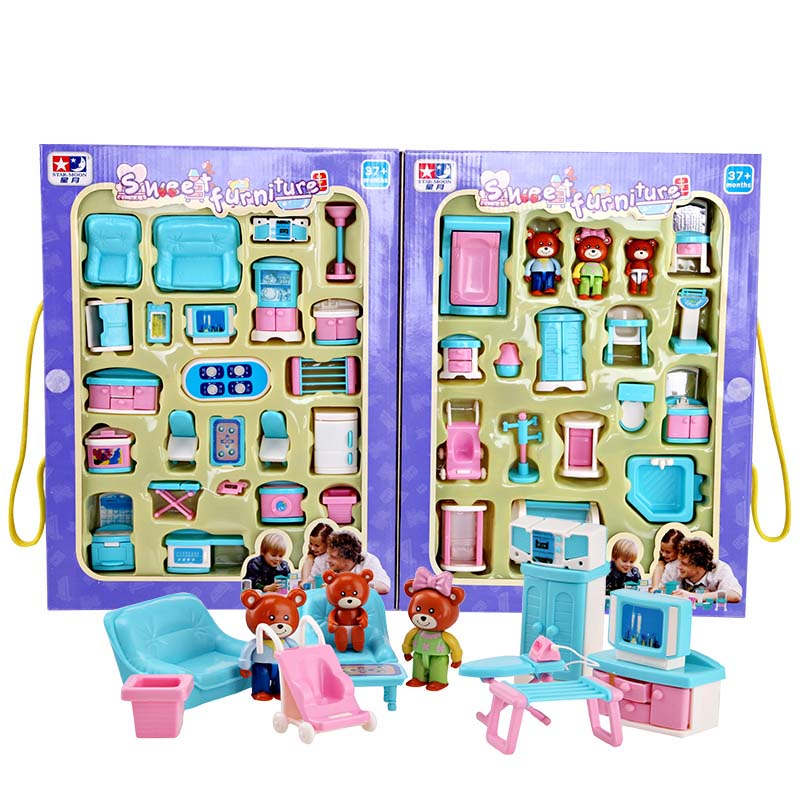 mini furniture sets. Educational Mini Miniature Furniture Toys Set Roll Play Games Toy Dolls Girls Boys Baby Children Dollhouse High Quality Plastic-in From Sets R