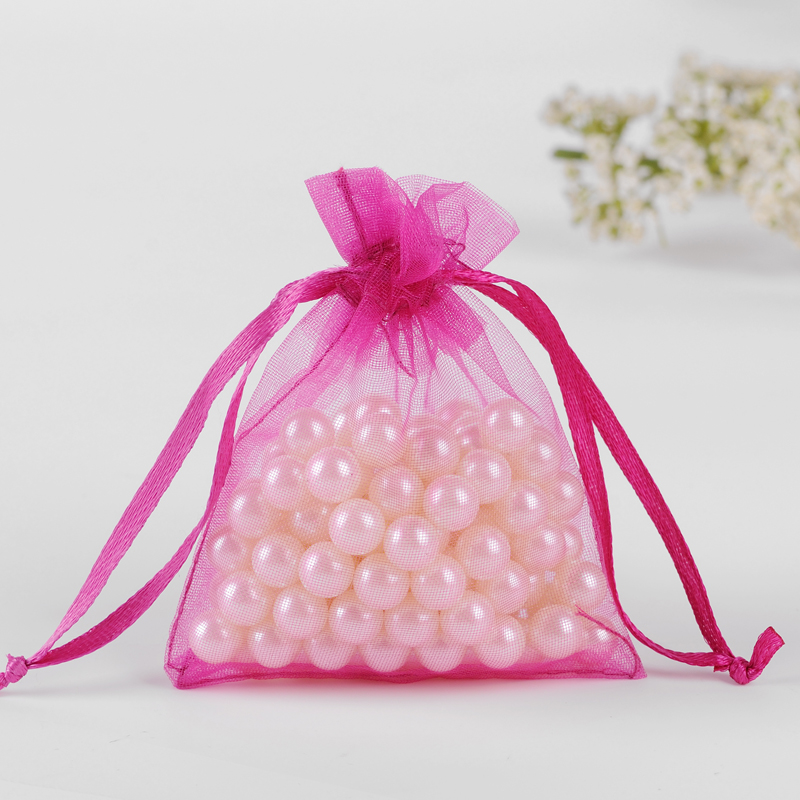 Deep Pink Small Gift Bags 5x7cm 100pcs Bolsas Organza Bag For