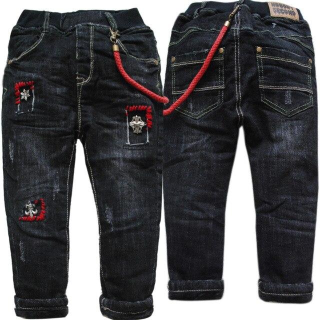 3986 регулярное черный зимние джинсы брюки для мальчиков теплые брюки джинсовые и флиса двухэтажных толстые новый 2017 детей одежда