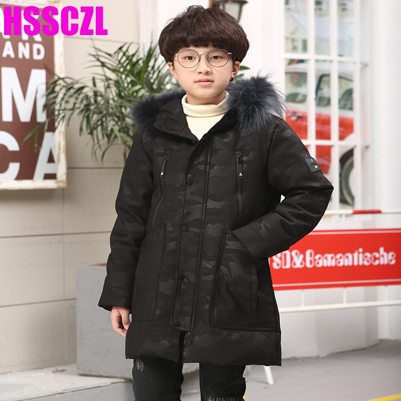 HSSCZL Boys Down Jackets 2017 New Brand Children Big boy long Down Jacket coats Winter Thicken Hooed Natural Fur Collar 7-14A casual 2016 winter jacket for boys warm jackets coats outerwears thick hooded down cotton jackets for children boy winter parkas