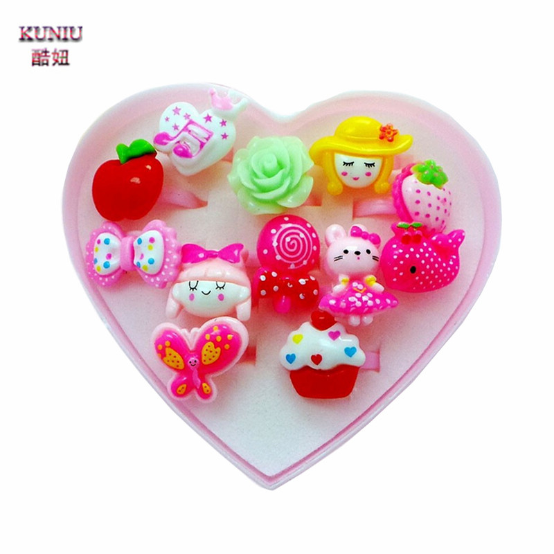 KUNIU Animals Flower Heart Girl Rings With Gift 12pcs