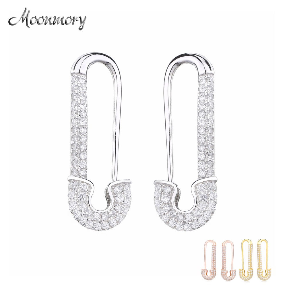 Moonmory 100% 925 Sterling Silver Silver Safety Pin Earring France Women CZ Pave Safe Pins Pair Earring Women Engagement Jewelry