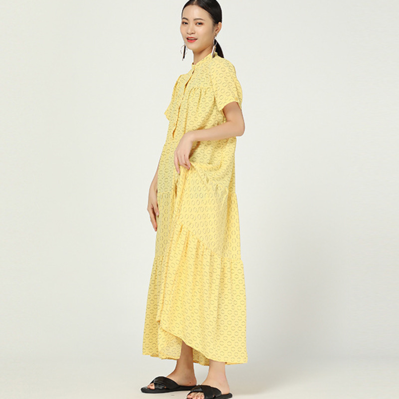 LANMREM 2020 Spring And Summer Stand Collar Single Breasted Polka Dots Printed Pullover Loose Long Dress Chiffon WH30007