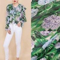140cm Width Green Leaf And Flowers Printed Georgette Chiffon Fabric 100 Silk Georgette Fabric Clothing Fabric