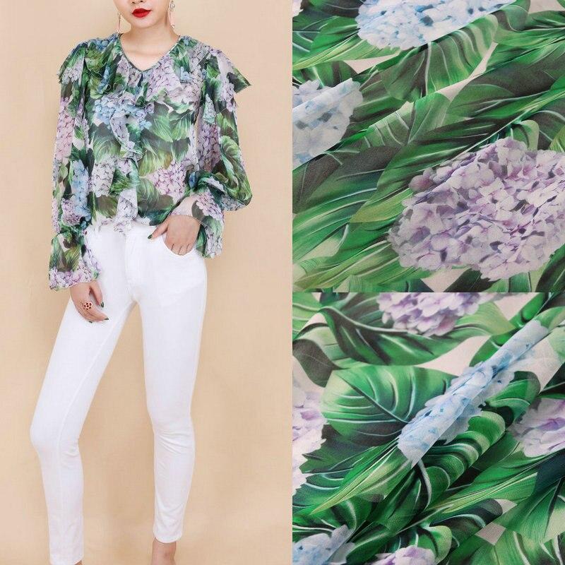 140cm width green leaf and flowers printed Georgette chiffon fabric,100% silk georgette fabric clothing fabric, silk thin fabric
