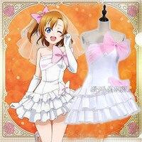 Love Live Kousaka Honoka Bridesmaid Cosplay Costume Dress+Shoulder Straps+Headwear+Veil+Foot Chain+Gloves