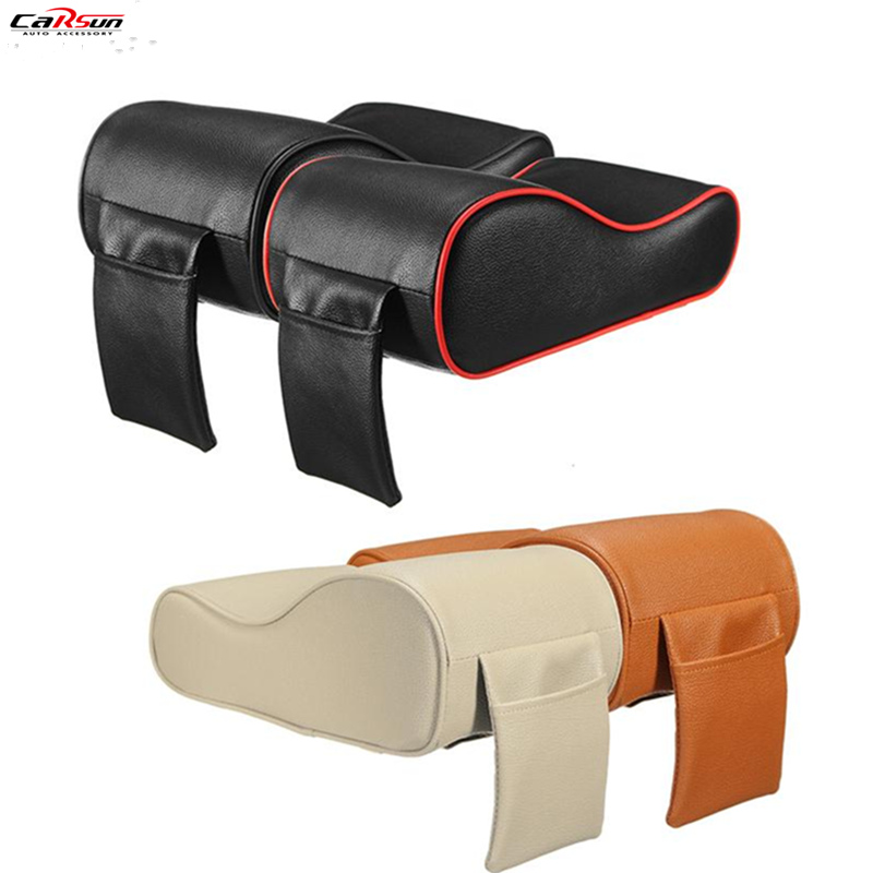 CARSUN PU Leather Car SUV Center Box Armrest Cushion Console Soft Pad Cushion Cover Mat Memory Foam Rest Pillow Armrest Supports
