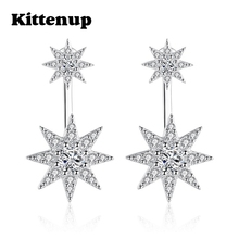 Kittenup Fashion New Trendy Luxury Double Star Snowflake Stud Earrings Front Back Ear Jacket Jewelry Gifts Silver Color