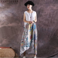 Women asymmetric dresses floral linen moden chinese style dress sundresses chic mexican hippie ethnic style dress AA4097