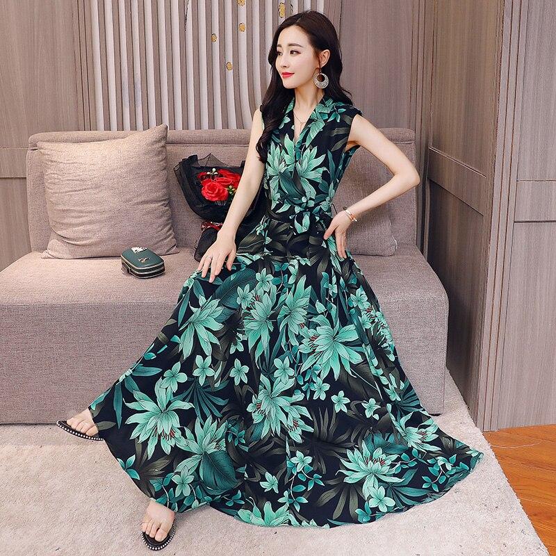 470c17744ad5 Floral Print Chiffon Long Dress Women 2018 Boho Maxi Dresses Sleeveless  Summer Maxi Dress Long Beach Summer Dress -in Dresses from Women's Clothing  on ...