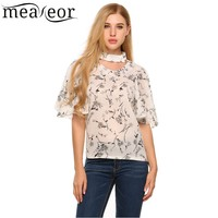 Meaneor Floral Hollow Out Chiffon Shirt Blouse 2017 Women Stand Neck Flare Short Sleeve Blouse New Fashion Print Chiffon Blouse