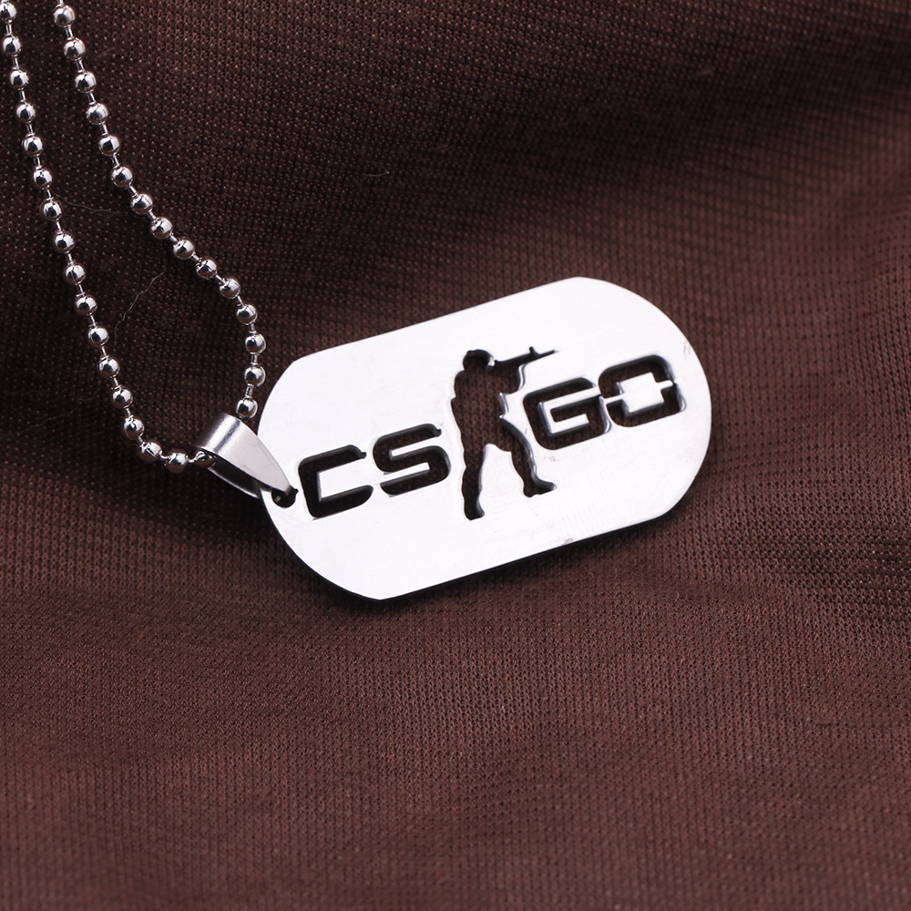 mens cs go stainless steel body necklace online army game charming beads chain 2017 fashion anime jewelry stock on sale