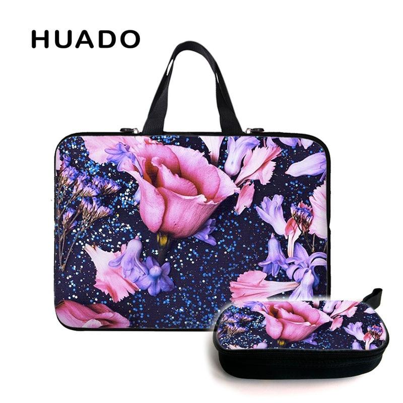 Flower laptop handbag for women 15.6 notebook sleeve 14 17 storages bag tablet case for mac air 13/lenovo ideapad/asus/mi pro