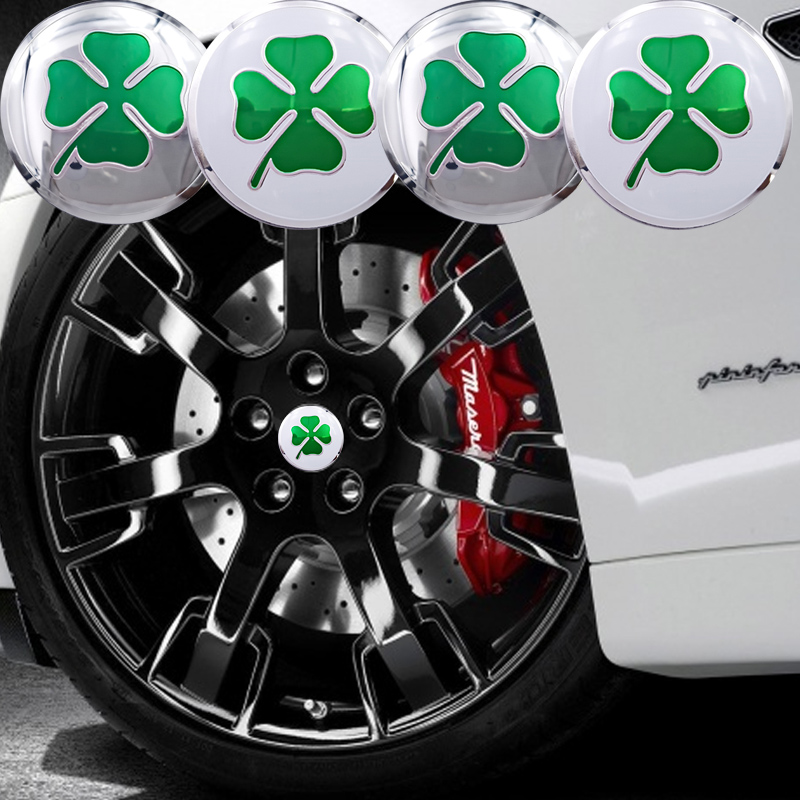 ANTINIYA 4PCS Lucky Four Leaf Clover Emblem Car Styling Sticker Wheel Hub Caps Center Decoration for Alfa Romeo