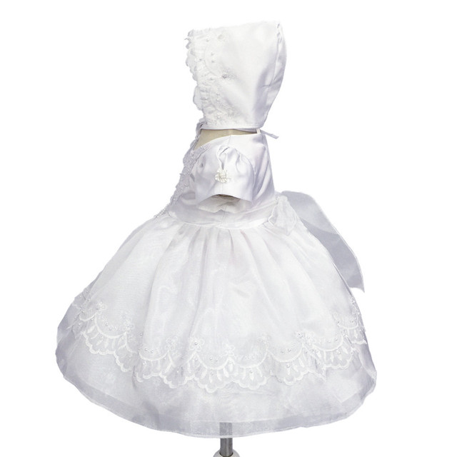 HG Princess  Cotton Lining 3M-12M infant Baptism Dress For Baby Christing Gowns Embroidery Organza White first Communion Dresses