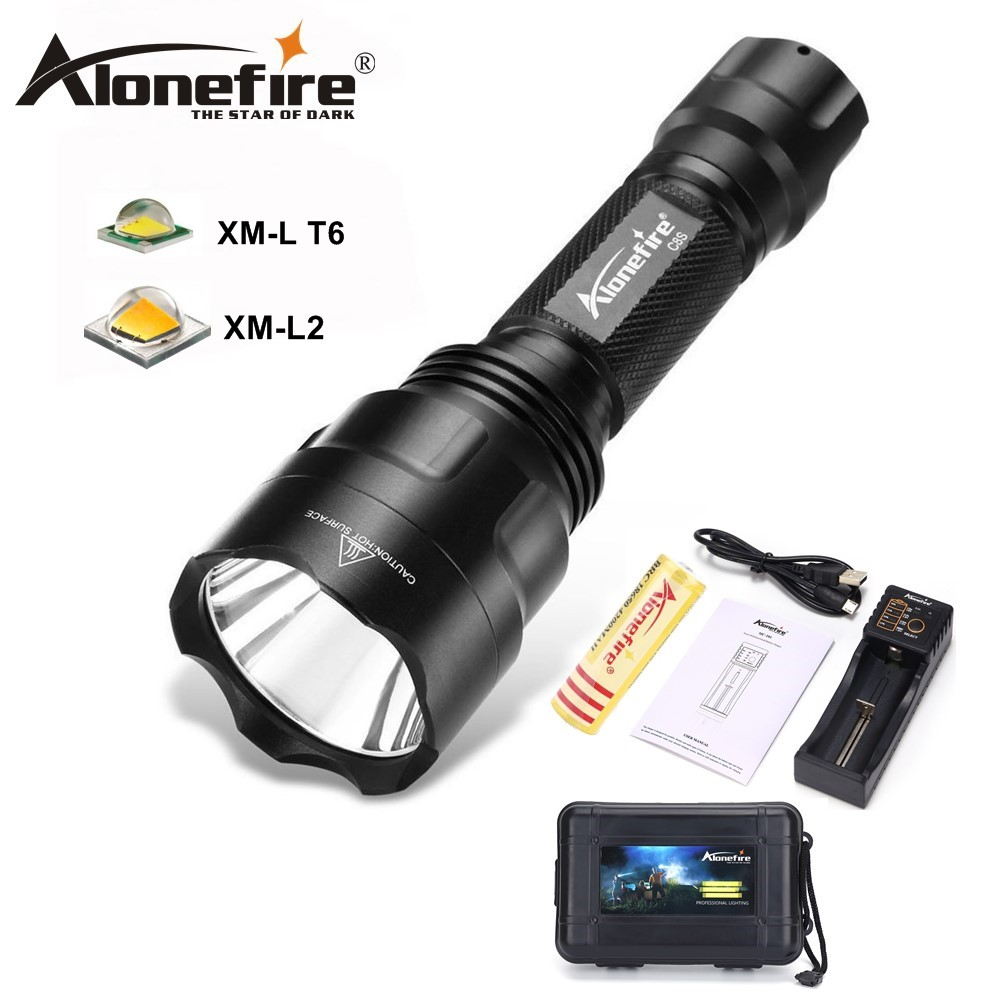 ALONEFIR CREE C8 XML-T6 led flashlight T6 Upqrade Night Hiking Camping Fishing Rechargeable Waterproof flash light фонарик ultrafire c8 cree xm l t6 xml 1000 5 18650 c8 t6
