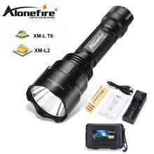 ALONEFIR CREE C8 XML-T6 led flashlight T6 Upqrade Night Hiking Camping Fishing Rechargeable Waterproof flash light