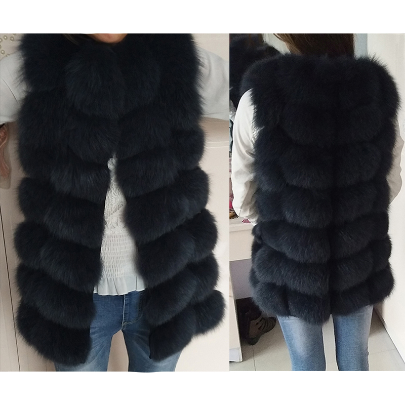 Natural Fur Jacket Coats Vest Short Fox-Fur Winter Warm Sleeveless