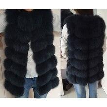 Натуральный Лисий мех жилет куртка жилет короткий без рукавов жилет женский зимний теплый натуральный мех жилет натуральный мех куртка лисий мех пальто