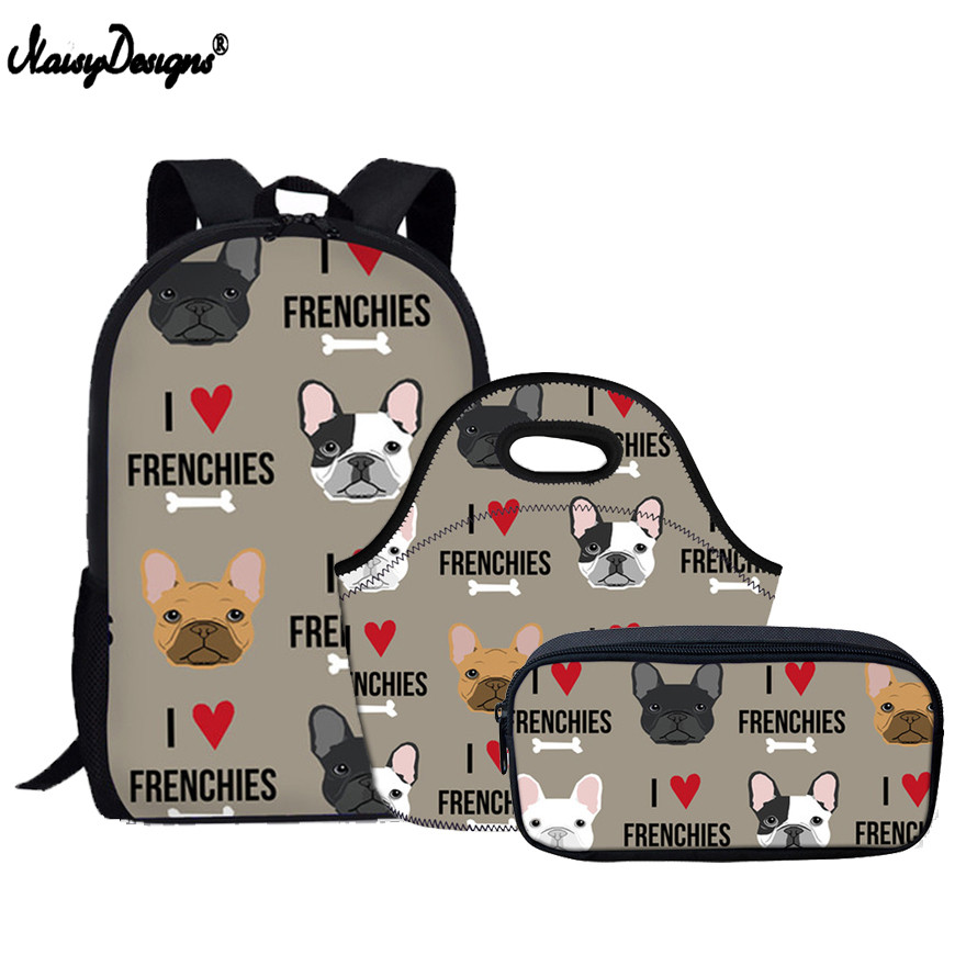 Cute French Bulldog Print Backpack Set For Kids and Girls