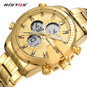 RISTOS Fashion Relojes Masculino Hombre Multifunction Stainless Steel Man Sport Watches Male Chronograph Digital Wristwatch 9345(China)