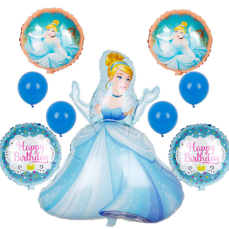 1set Large Belle Cinderella Snow White sofia Princess Foil Balloons Baby Birthday Party Decoration Helium Balloons kid gift