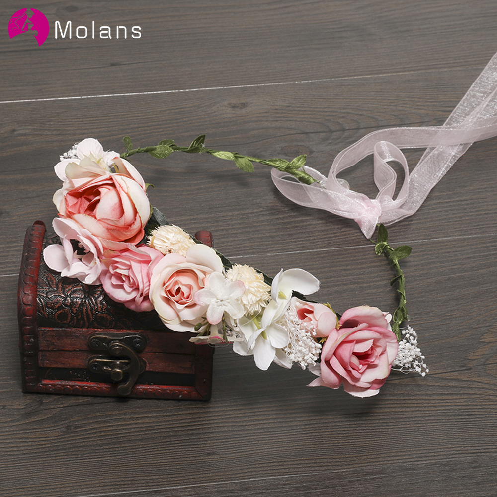 MOLANS 2019 New Style Stimulation Flower Wreath Headbands For Women Blue And Pink Flower Beautiful Fashion Hair Hoop For Wedding