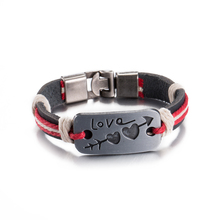 2017 Vintage Lover's Heart Bracelets New Design Alloy Hook Genuine Leather Rope Bracelet Bangle Wristband Cuff Women Men Jewelry