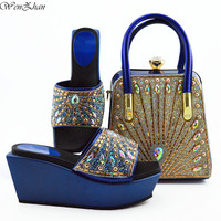 Briliiant Italian Shoes with Matching Bag Newest Royalblue African Nigeria Shoes and Bag Set for Parties 38 42 WENZHAN B95 22