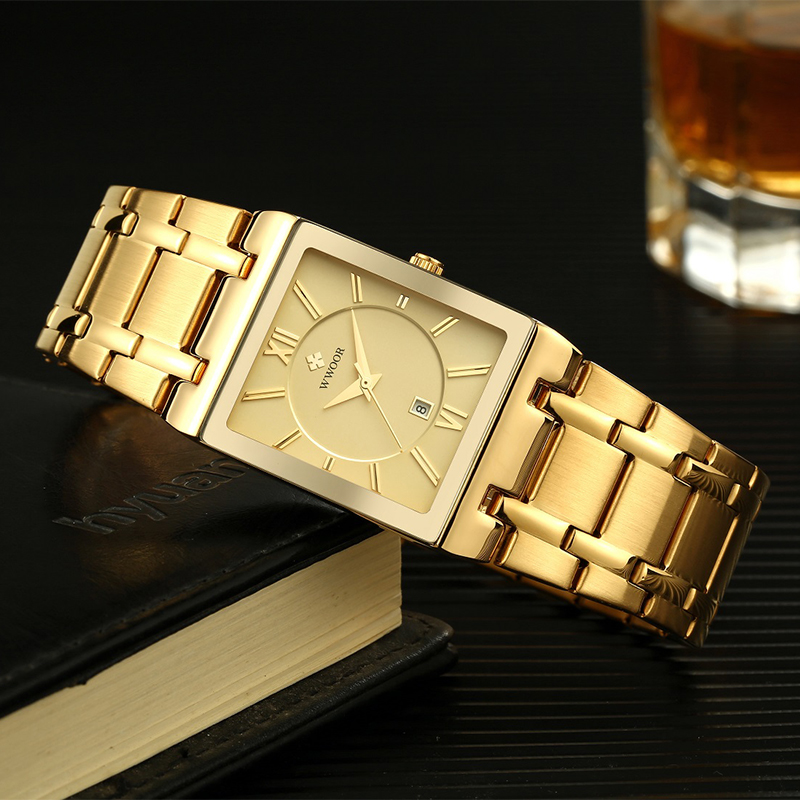 Relojes de marca de lujo dorado para hombre, relojes de negocios, relojes cuadrados militares de cuarzo para hombre, relojes de pulsera informales con correa de acero inoxidable, regalo - 3