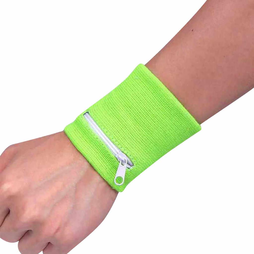 Zipper portmonetka na nadgarstek Running sportowa opaska na ramię torba na MP3 klucz torba do przechowywania kart Case Badminton koszykówka opaska opaska