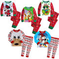 2016 New Fashion Christmas  Cartoon Animal Baby Boys Girls Mouse Reindeer Tops Pants 2pcs Sleepwear Nightwear Pajamas Set