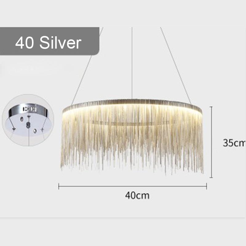 IKVVT роскошные подвесные светильники золотистого и серебряного цвета, круглые лампы с кисточками, Алюминиевый металлический корпус для гостиной, отеля, современные домашние лампы - Цвет корпуса: Dia40cm Silver