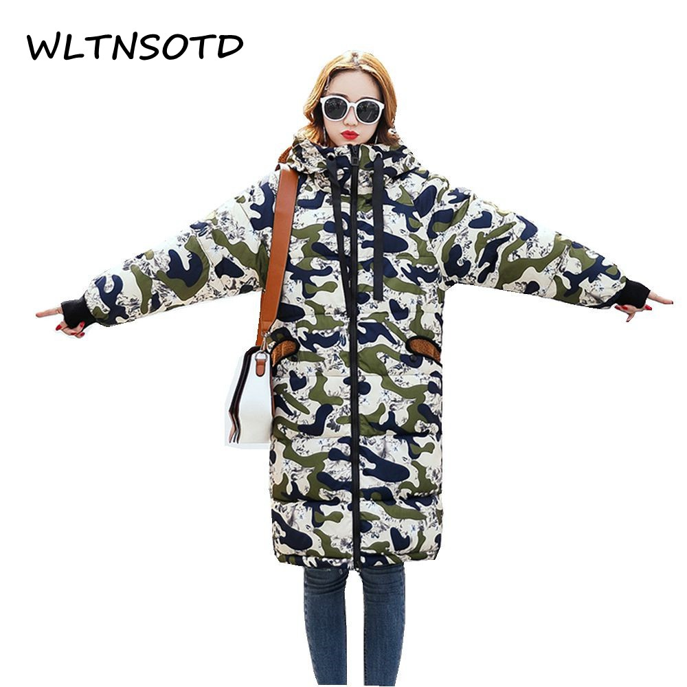 2017 Limited Full Winter New Women Cute Ears Loose Large Size Hooded Camouflage Long Parka Cotton Jacket Female Warm big Coat 2017 ukraine exclusive custom winter coat magic cloth dolls and original sweet bunny ears hooded casual loose lovely cotton