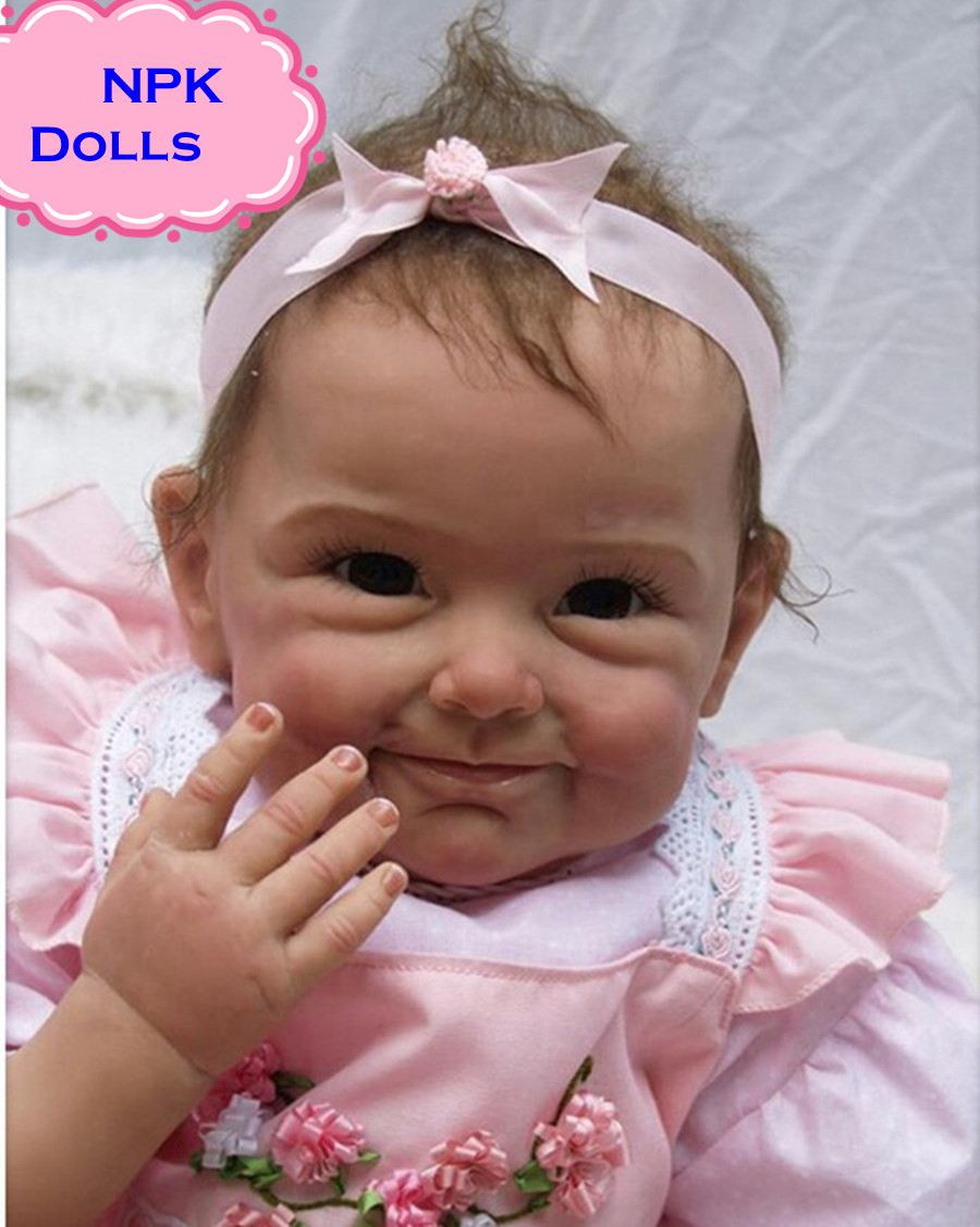 2017 New NPK Silicone Reborn Baby Dolls In Pink About 22 Inch Lovely  Doll Reborn For Baby Gift Bonecas Bebe Reborn Brinquedos new arrival 18inch doll npk american sweet girl with curly long hair in floral skirt dress bonecas bebe kids gift brinquedos