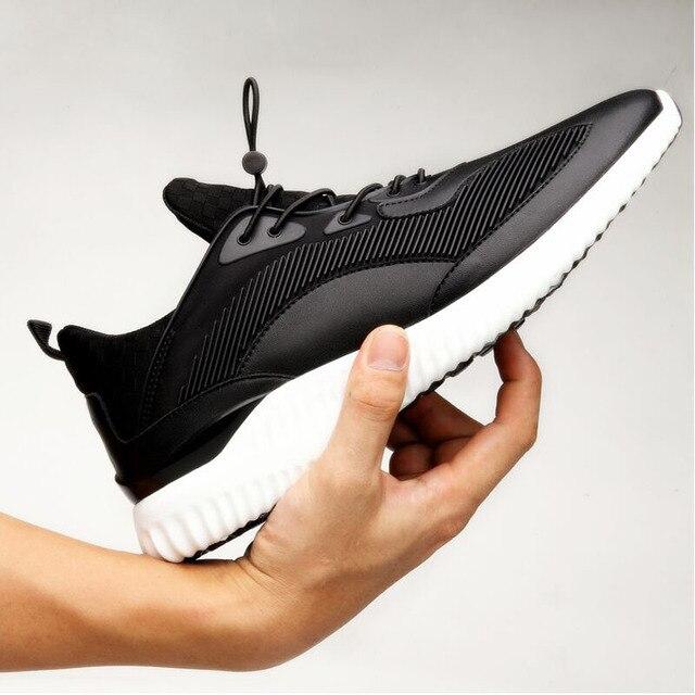 Zapatos casuales para hombre con cordones de los hombres negro/rojo para hombre entrenadores zapatos sapato masculino zapatos de moda de cuero de goma hombre