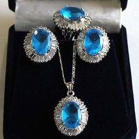 Free shipping@@@@@ Fine 10 14mm blue/yellow/pink/purple zircon beads 18KGP earring ring pendant set