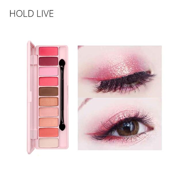 HOLD LIVE Peach Matte Eyeshadow Palette For Red Shadows Korean Makeup Brand Pink Cherry Blossom Glitter
