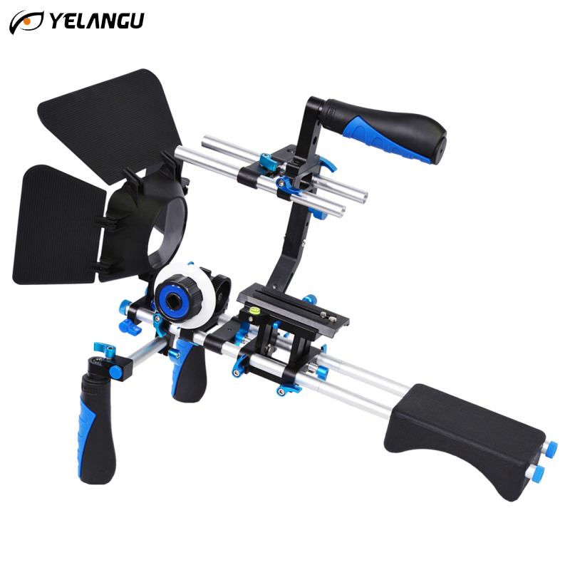 YELANGU DSLR Rig C-shape Stabilizer Shoulder Mount Rig+Matte Box+Follow Focus+Dslr Cage for Canon Nikon Sony DSLR Camera Video 2016 new koolertron hand grip handle shoulder mount rig follow focus adjust platform matte box sunshade for dslr cannon nikon