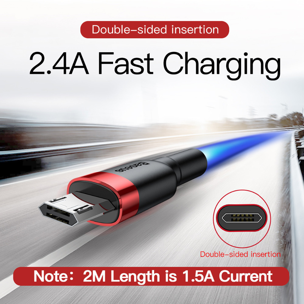 baseus 1m 2m micro usb charger data cable for all smartphones