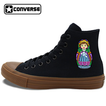 Converse Chuck Taylor II Shoes for Man Woman Original Design Russia Matryoshka Colorful Dolls Black High Top Canvas Sneakers
