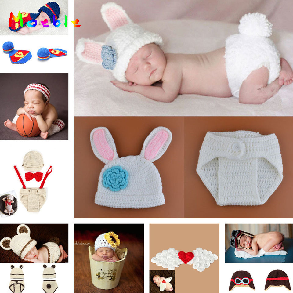 Newborn Baby Crochet Photography Props Handmade Infant Baby Pilort Hat Infant Nursling Knitted Beanies 1pc MZS-14030