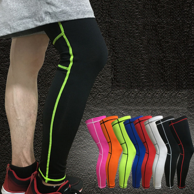 1Pcs Super Elastic Lycra Basketball Leg Warmers Calf Thigh Compression Sleeves Knee Brace Soccer Volleyball Cycling 9 Colors