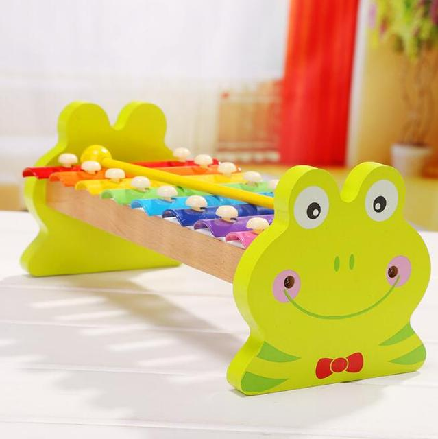 1Pcs/set Hot sale Cute Wooden Frog Octave Hand Knock Piano celular Toy Educational baby Toys For Children