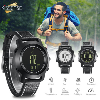 Multifunctional Temperature Smart Watch Outdoor Sports Smartwatch Waterproof Heart Rate Wristwatch Leather Watch for Man Women