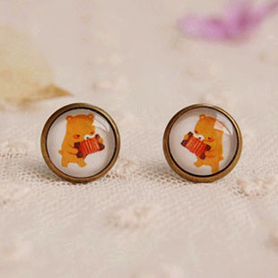 Wholesale Cute Playing Organ Bear Stud Earrings for Girls Vintage Jewelry for Christmas 12mm 12pairs/lot rd12